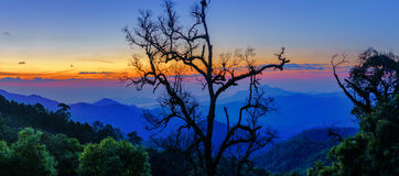 Dawn on the mountain landscape from Mae, Kampong village Thailan Royalty Free Stock Photo