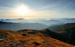 Dawn in mountains. Karpati, Ukraine. Autumn morning Stock Photography