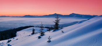Dawn in mountains Royalty Free Stock Image