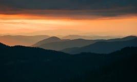 Dawn in mountains. Carpathians, Ukraine. Autumn morning Stock Images