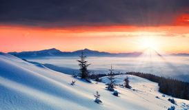 Dawn in mountains Stock Photography