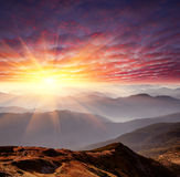 Dawn in mountains Royalty Free Stock Images