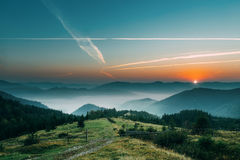 Dawn in mountains. Beautiful landscape Stock Photo