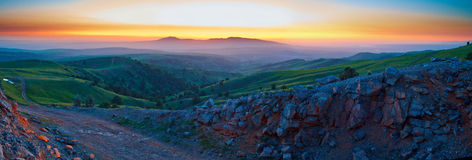 Dawn in mountains. Early in the morning Stock Images