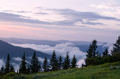 Dawn in the mountains Stock Photography