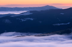 Dawn in the mountains Royalty Free Stock Photos