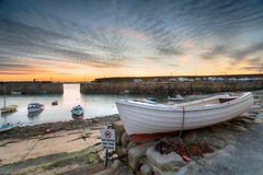 Dawn at Mousehole. Dawn at the harbour at Mousehole near Penzance on the Cornish coastline Royalty Free Stock Images