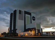 Dawn at NASA`s Vehicle Assembly Building VAB Royalty Free Stock Photo
