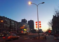Dawn night of beijing street Royalty Free Stock Images