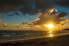 Dawn on the ocean coast. A beautiful sunrise on the Atlantic coast Royalty Free Stock Photos