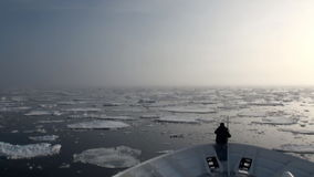 Dawn in ocean among icebergs and ice in Arctic. Dawn in the ocean among the icebergs and ice in the Arctic. Fantastic wonderful amazing video grenland nature stock video