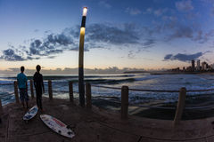 Dawn Ocean Waves Surfing Stock Photography