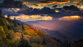 Dawn at Oconaluftee Overlook Stock Photo