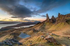 Dawn at the Old Man of Storr royalty free stock image