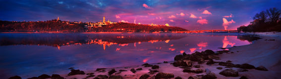 Dawn op Dnieper Royalty-vrije Stock Foto