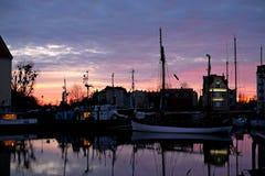 Dawn op het dok royalty-vrije stock afbeelding