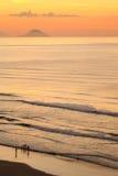Dawn op het Strand stock afbeelding