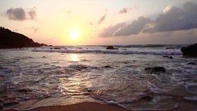 Dawn op het strand stock videobeelden