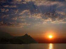 Dawn op Karadag. royalty-vrije stock fotografie