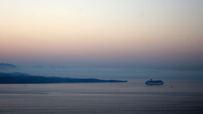 Dawn over Albania and Ferry Royalty Free Stock Photography