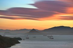 Dawn over the Bay of Nakhodka. Royalty Free Stock Image
