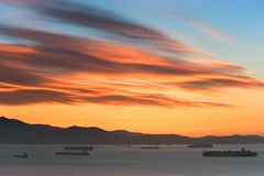 Dawn over the Bay of Nakhodka. Far East of Russia. East (Japan) Sea. 19.09.2014 Royalty Free Stock Photography
