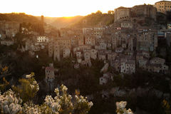 Dawn over the city of Sorano. Dawn over the old  famous tuff city of Sorano, province of Siena. Tuscany, Italy Stock Images