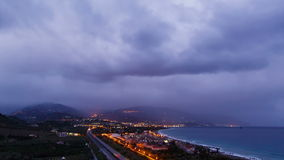 Dawn over the coast of Sicily. Italy. Time Lapse stock footage