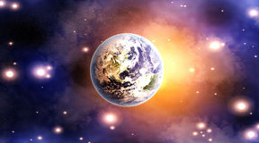 Dawn over the Globe. Dawn on Planet earth. 3D rendered Illustration Stock Photos