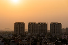 Dawn over gurgaon delhi showing buildings and homes Royalty Free Stock Photography