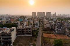 Dawn over gurgaon delhi showing buildings and homes Royalty Free Stock Photos