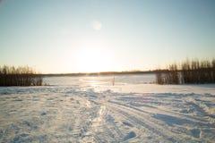 Dawn over het alluviale gebied van de rivier Stock Foto