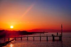 Dawn over het overzees Stock Foto's