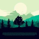 Dawn over land met silhouet van bos, bergen en wolken op de hemel stock illustratie