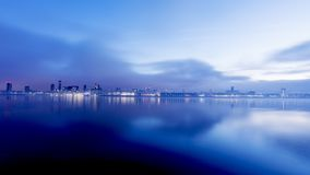 Sunrise over Liverpool River Mersey Royalty Free Stock Photos