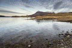 Dawn over Loch Assynt in the Scottish Highlands. Dawn over Loch Assynt and Ardvreck castle ruins at Inchnadamph in the Scottish Highlands Royalty Free Stock Photos