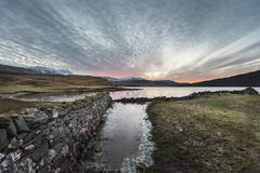 Dawn over Loch Assynt in the Scottish Highlands. Stock Photos