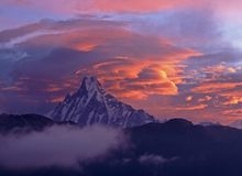 Dawn over Machhapuchhre Stock Photography