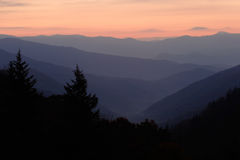 Dawn over Mountain Valley. Sunrise over the North Carolina mountains - seen from Newfound Gap, Tennessee, Smoky Mtns Nat. Park, USA Royalty Free Stock Photo