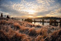 Dawn over the river royalty free stock photo