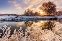Dawn over the river in winter morning Royalty Free Stock Photography