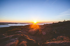 Dawn over rocky coastline Royalty Free Stock Image