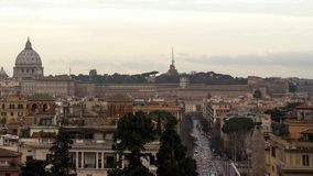 Dawn over Rome. Via del Corso. Italy. Time Lapse. Video stock video