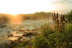 Dawn over Rushing river Royalty Free Stock Images
