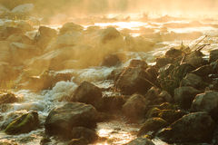Dawn over Rushing river Stock Images