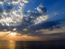 Dawn over sea. A background of beautiful sunrise over the sea Royalty Free Stock Photography