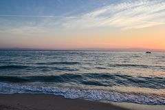 Dawn over the sea. Marine view royalty free stock images