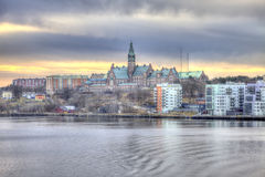 Dawn over Stockholm. HDR Royalty Free Stock Photography