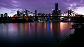 Dawn over the Story Bridge. The Story Bridge is a heritage-listed steel cantilever bridge spanning the Brisbane River that carries vehicular, bicycle and Royalty Free Stock Photography