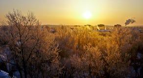 Dawn over winter city. Stock Photo